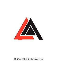 wektor, litera, geometryczny, la, logo, trójkąt