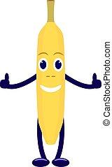 wektor, litera, rysunek, żółty banan