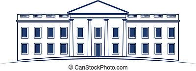 wektor, logo, biały dom