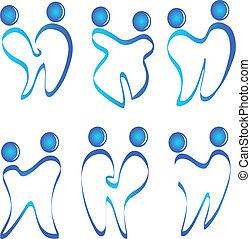 wektor, logo, komplet, figury, zęby