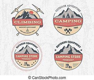 wektor, logo, komplet, zima, hiking farba, family., podróż, ...
