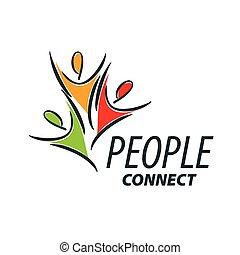 wektor, logo, ludzie