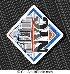 wektor, logo, nyc