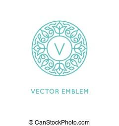 wektor, logo, projektować, szablon, i, monogram, pojęcie, w, modny, linearny, styl, -, kwiatowy, ułożyć