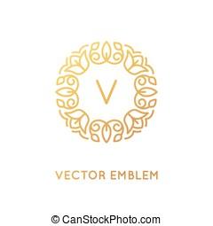 wektor, logo, projektować, szablon, i, monogram, pojęcie, w, modny, linearny, styl, -, kwiatowy, ułożyć, z, kopiować przestrzeń, dla, tekst, albo, litera