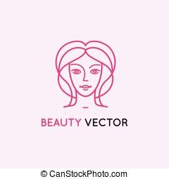 wektor, logo, projektować, szablon, w, modny, linearny, styl
