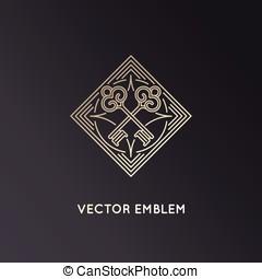 wektor, logo, projektować, szablon, w, modny, linearny, styl, z, klawiatura