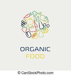 wektor, logo, projektować, szablon, z, owoc, i, roślina, ikony, w, modny, linearny, styl