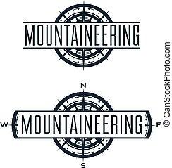 wektor, logo, set., etykiety, alpinizm
