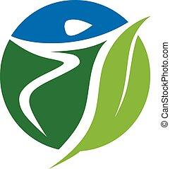 wektor, logo, sport, zdrowie
