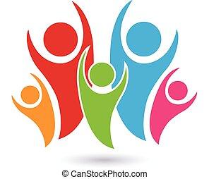 wektor, logo, symbol, pojęcie, rodzina
