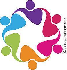 wektor, logo, uścisk, teamwork