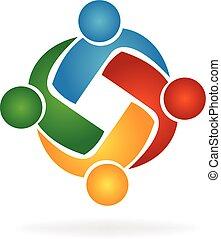 wektor, logo, uścisk, teamwork, ludzie