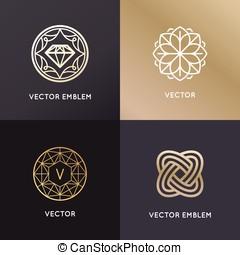 wektor, logo, zaprojektujcie szablony, i, symbole, w, modny, linearny, styl