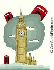 wektor, londyn, ilustracja
