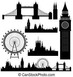 wektor, londyn, punkty orientacyjny