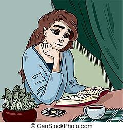 wektor, młody, ilustracja, książka, czytanie, dama