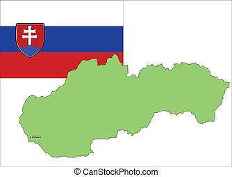 wektor, mapa, illu, bandera, slovakia