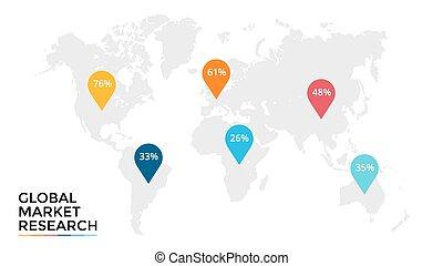 wektor, mapa, procesy, pojęcie, handlowy, infographic, wykres, opcje, globalny, diagram, strony, wykres, presentation., 6, świat, kroki, planeta, earth., targ