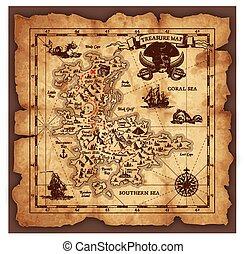 wektor, mapa, skarb, pirat