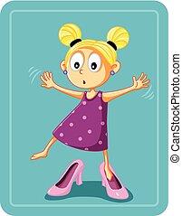 wektor, matczyny, dziewczyna, mały, pięta, wysoki, obuwie, ...