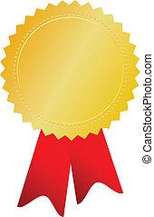 wektor, medal, złoty