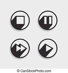 wektor, media, różny, komplet, icons.