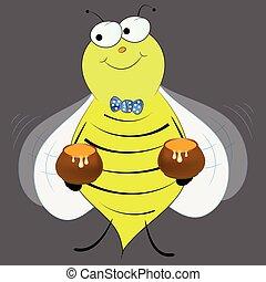 wektor, miód, rysunek, pszczoła, sprytny, ilustracja