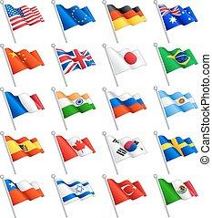 Wektor, międzynarodowy, komplet, bandery