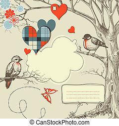 wektor, miłość, ilustracja, drewna, ptaszki, rozmowa