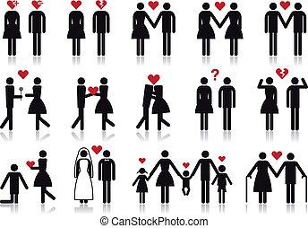 wektor, miłość, komplet, ikona, ludzie