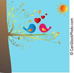 wektor, miłość ptaszki, pień