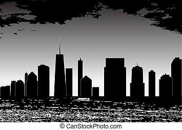 wektor, miasta, sylwetka, ilustracja