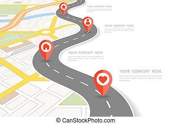 wektor, miasto, infographic, perspektywa, mapa