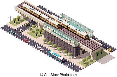 wektor, miasto, isometric, pociąg stacja