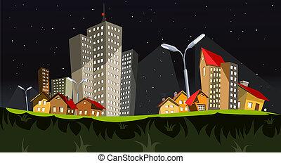 wektor, miasto, -, noc