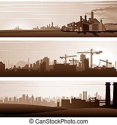 wektor, miejski, przemysłowe tła, krajobrazy