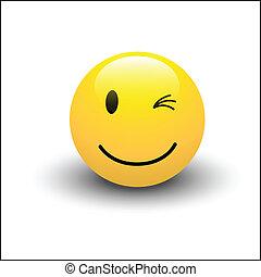 wektor, migoczący, smiley