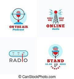wektor, mikrofon, komplet, abstrakcyjny, wieża, emblems., do...