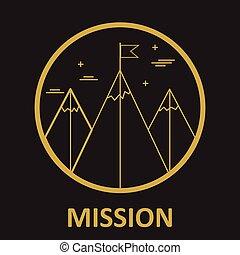 wektor, misja, podejście góry, logo, projektować, szablon, w, modny, linearny, styl, -, abstrakcyjny, emblemat, i, odznaka