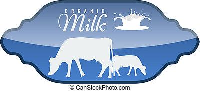 wektor, mleczny, etykieta, z, mleczny, bryzg, i, krowa, silhouette.