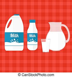 wektor, mleczny, ilustracja