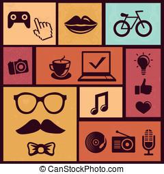 wektor, modny, komplet, hipster, ikony