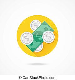 wektor, monety, halabarda, dolar, ikona