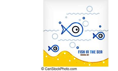 wektor, morze, i, fish, lina sztuka, tło