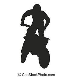 wektor, motocross, jeździec, silhoouette