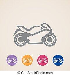 wektor, motocykl, ikony