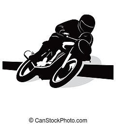 wektor, motocykl, tasak