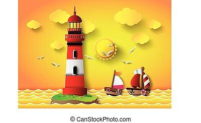 wektor, motyw morski, latarnia morska, ilustracja