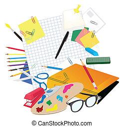 wektor, motywy, komplet, school., ilustracja